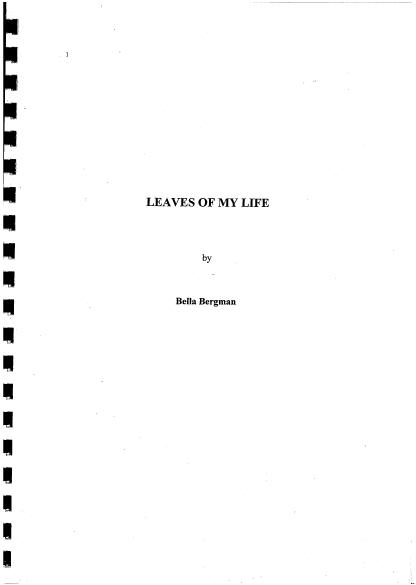 Bergman, Bella: Leaves of My Life