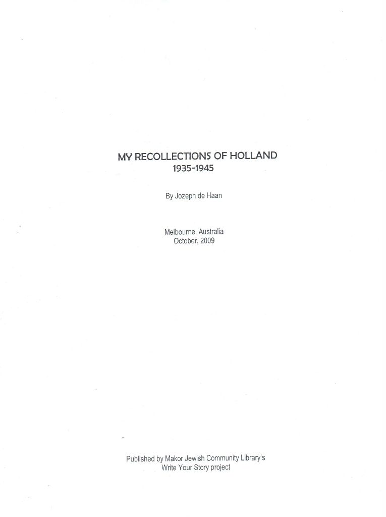 de Haan, Joseph: My Recollections of Holland