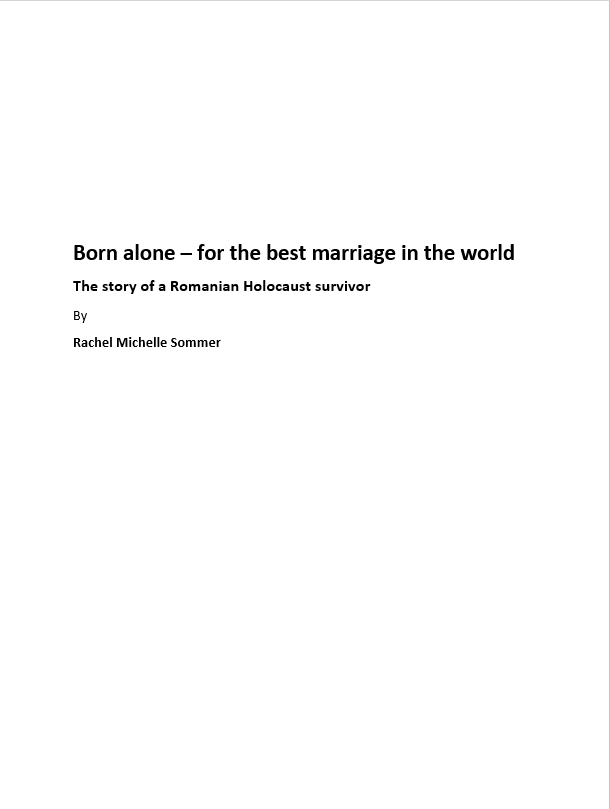 Sommer, Rachel Michelle: Born alone – for the best marriage in the world