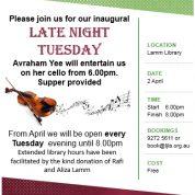 Inaugural Late Night Tuesday